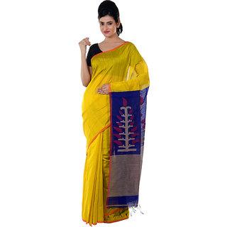 Yellow and Blue Handloom Saree