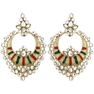 The Jewelbox Chaand Bali Kundan Red Green Meenakari Earring for Women E1559PRDFAD