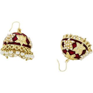 The Jewelbox Lotus Gold Plated Maroon Meenakari Jhumki Earring for Women E1576AGDFTI