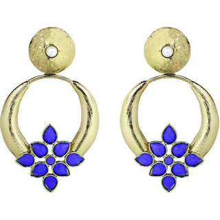 The Jewelbox Turkish Gold Plated Dark Blue Pearl Designer Earring For Women E1608agdfrd Online Get 70 Off