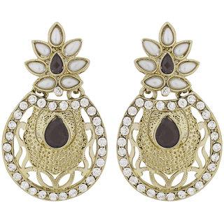 The Jewelbox Flower Filigree Antique Rhodium Pearl Black Earring for Women E1619PRDDED