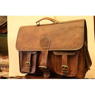 Laptop Leather Bag  #NK0842 in brown color