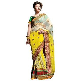 Pure Georgette Yellow And White Saree