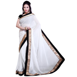 Bipolarlife designer white saree