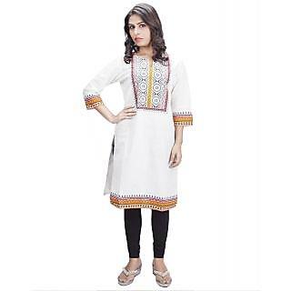 IRA Fashion Figura White Khari Print Cotton Kurti
