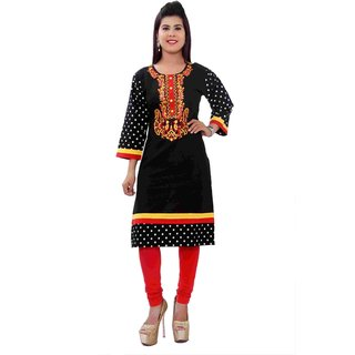 Vedans Round Neck Embroidery Cotton Kurti