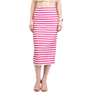 Harpa Pink Blended Striped Womens Skirt