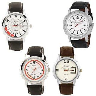 Stylox Round Dial Black Fabric Strap Quartz Watch For Men (Set Of 4)