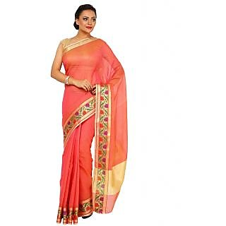 Kataan Bazaar Khaki Art Silk Self Design Saree With Blouse