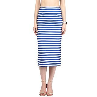 Harpa Royal Blue Blended Striped Womens Skirt