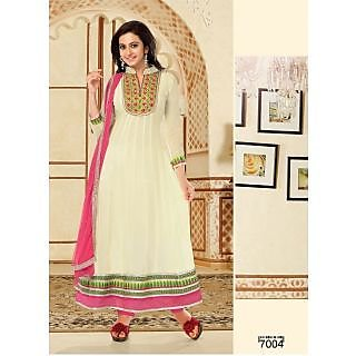 Latest Off White In Long Length Anarkali Suits