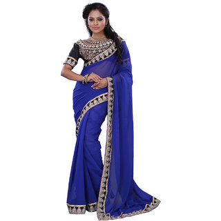 SuratTex Blue Chiffon Plain Saree With Blouse