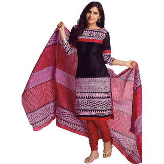 Kaya Printed  MultiOrangeRed Colour Pure Cotton Casual Unstitched Dress Material