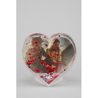 Unique Heart Shaped Snow Globe With Red Heart Glitter