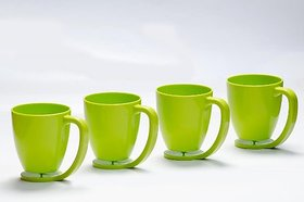 Cutting Edge Floating Cups Blue With Inbuilt Coaster Set Of 4 Light Green