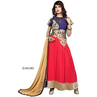 Brinda Red Faux Georgette Semi Stitched Dress Material
