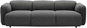 Afydecor Sofa with Minimal Cubus Seat in Graphite
