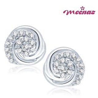 Meenaz Enchanting Designer Rhodium plated CZ Earings T104