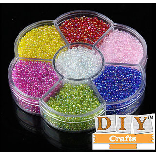 Round Beads Box Set For Jewelry Making DIY Crafts 7 Color 2mm Glass Seed Space