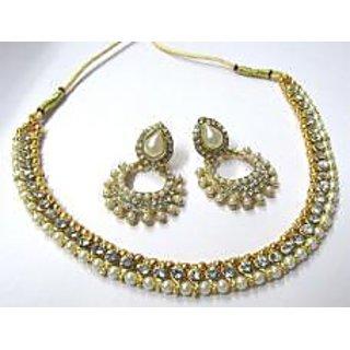 Golden pearl polki necklace set SMC001