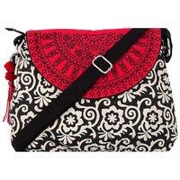 Pick Pocket Black, White And Red Semi Circle Canvas Sling Bag