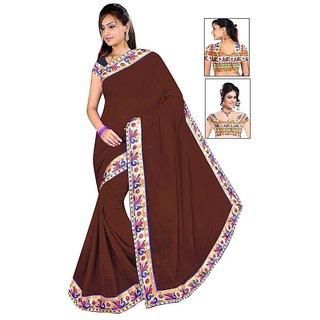 Active Prints Chiffon Brown Lace work fancy saree