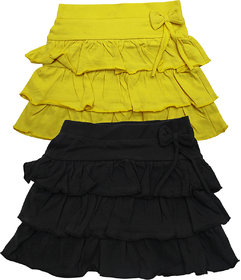 Juscubs 3Frills Skirt With Self Fabric Bow Yellow-Blk