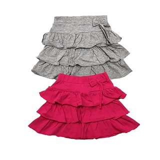 Juscubs 3Frills Skirt With Self Fabric Bow Grey-Fushia