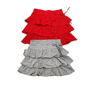Juscubs 3Frills Skirt With Self Fabric Bow Red-Grey