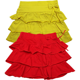 Juscubs 3Frills Skirt With Self Fabric Bow Yellow-Red