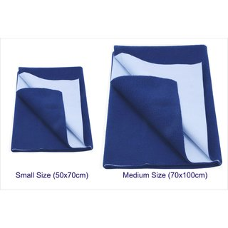 Dark Blue Baby Dry Sleeping Mat - Combo Small and Medium (Set of 2)