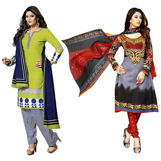 Drapes Gray And Green Cotton Embroidered Salwar Suit Dress Material (Pack of 2) (Unstitched)