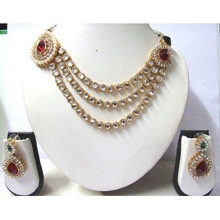 Maroon Brooch Three line kundan Necklace Set