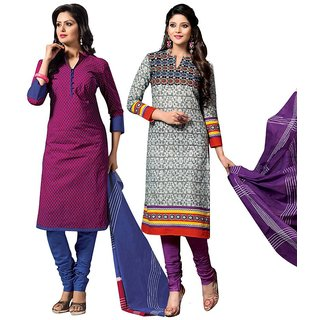 Drapes Purple And Khaki Dupion Silk Embroidered Salwar Suit Dress Material (Pack of 2) (Unstitched)