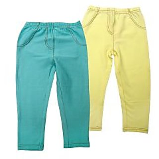 Juscubs Knit Denim Jeggings Aqua-Yellow