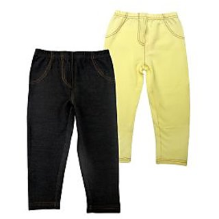 Juscubs Knit Denim Jeggings Blk-Yellow
