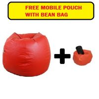 Orka XL Bean Bag (With Bean Filling) Red (Orka_178) With Free Mobile Pouch