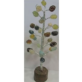 Feng Shui Multi Colour Gem Tree-Silver Plated Wire