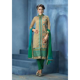 Sanskruti 10087 Ornate Semi-Stitched Salwar Suit (Multicolor)