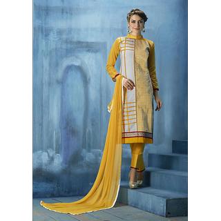 Sanskruti 10088 Ornate Semi-Stitched Salwar Suit (Yellow)