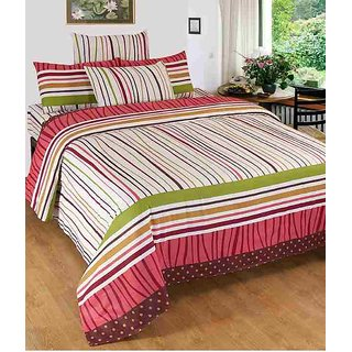 Shiv Shankar Handloom Beautiful Multi Cotton Double Bedsheet With 2 Pillow Cover
