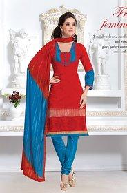 Riti Riwaz Red Chanderi cotton  dress material with dupatta BLS4011