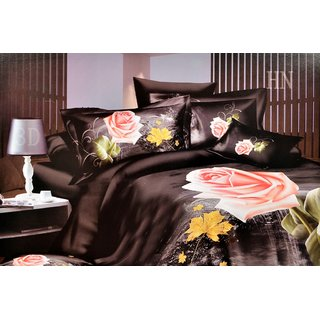 Valtellina  Flora Double Bed Sheet With 2 Pillow Covers(7-016)