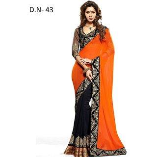 Keshvi Fashions Peach Raw Silk Embroidered Saree With Blouse