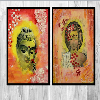 Suman Bhandari Enchantment  Blissfull combo acrylic paintings reprint on canvas