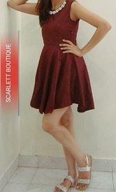 Scarlett Boutique Neck Pearl Short Dress