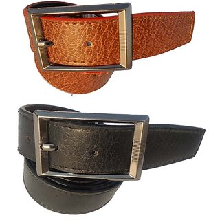 Mens Formal Black And Brown Combo Synthetic Belt CO 007