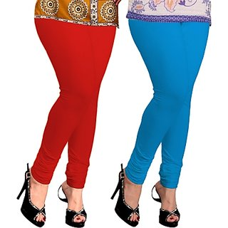 Red  Blue Lycra Leggings For Womens