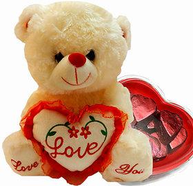 Love Teddy Bear With Chocolate Hearts