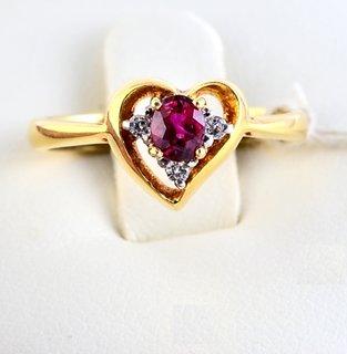 Burmese Ruby Ring Oval Shape in Heart Shape Ring